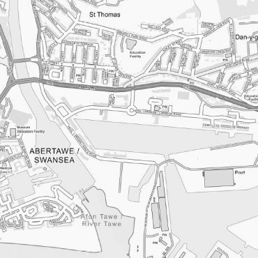 City Street Map - Central Swansea - Greyscale - Detail