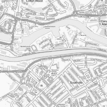 City Street Map - Bristol - Greyscale - Detail