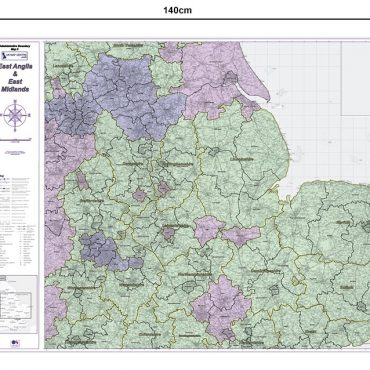 Admin Boundary Map 5 - East Midlands & East Anglia - Dimensions