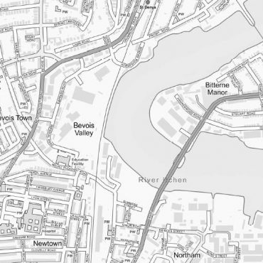 City Street Map - Central Southampton - Greyscale - Detail