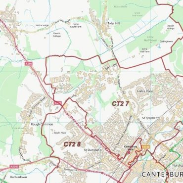 Postcode City Sector Map - Canterbury - Colour - Detail