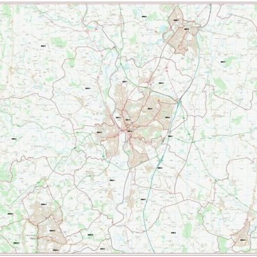 Postcode City Sector Map - Worcester - Colour - Overview