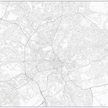 City Street Map - Central Nottingham - Greyscale - Overview