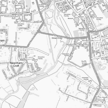 City Street Map - Central Cambridge - Greyscale - Detail
