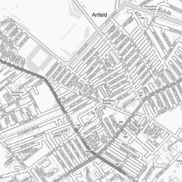 City Street Map - Central Liverpool - Greyscale - Detail