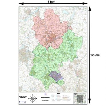 Bedfordshire County Map - Dimensions