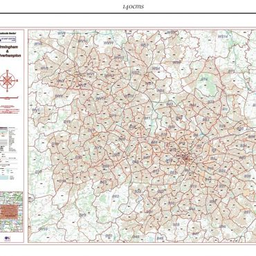 Postcode City Sector XL Map - Birmingham & Wolverhampton - Colour - Dimensions