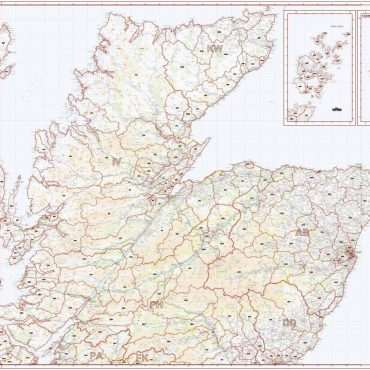 Postcode District Map 1 - North Scotland, Orkney and Shetland - Colour - Overview