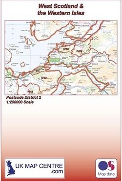Postcode District Map 2 - West Scotland & the Western Isles - Colour - Folded Cover