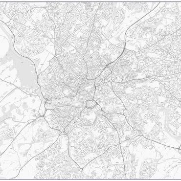 City Street Map - Birmingham - Greyscale - Overview