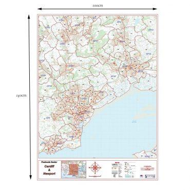 Postcode City Sector XL Map - Cardiff & Newport (Caerdydd & Casnewydd) - Colour - Dimensions