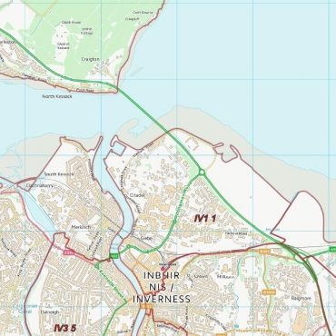 Postcode City Sector Map - Inverness - Colour - Detail