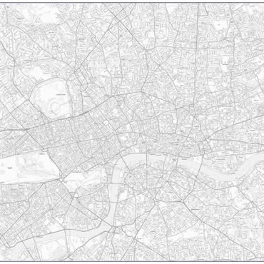 City Street Map - Central London - Greyscale - Overview