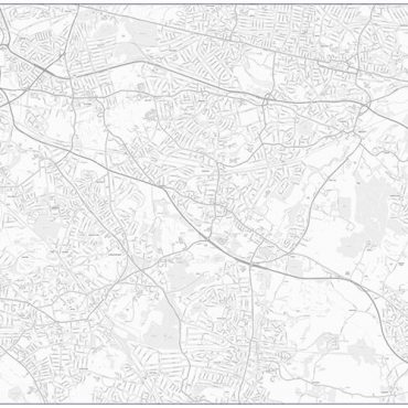 City Street Map - South East London - Greyscale - Overview