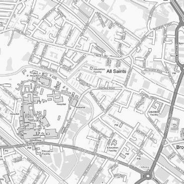 City Street Map - Birmingham - Greyscale - Detail