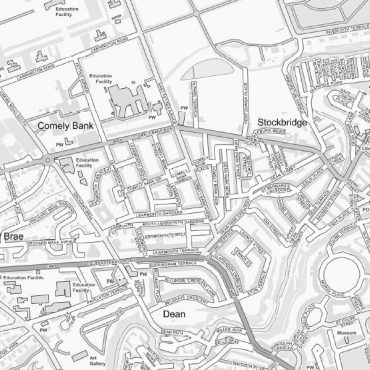 City Street Map - Central Edinburgh - Greyscale - Detail
