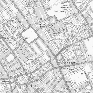 City Street Map - Central London - Greyscale - Detail