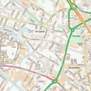 City Street Map - Birmingham - Colour - Detail