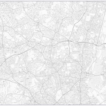 City Street Map - North London - Greyscale - Overview