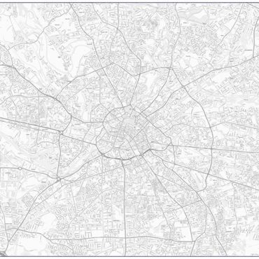 City Street Map - Central Manchester - Greyscale - Overview