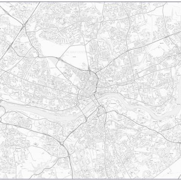 City Street Map - Central Newcastle - Greyscale - Overview