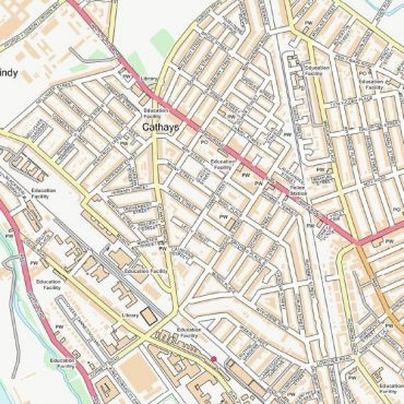 City Street Map - Central Cardiff - Colour - Detail