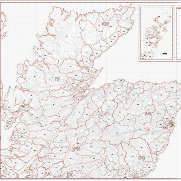 Postcode District Map 1 - North Scotland, Orkney and Shetland - Greyscale - Overview