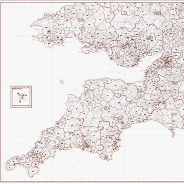 Postcode District Map 7 - South West England & South Wales - Greyscale - Overview