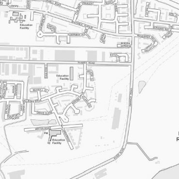 City Street Map - East London - Greyscale - Detail