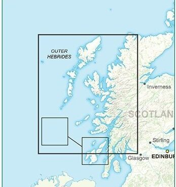 Postcode District Map 2 - West Scotland & the Western Isles - Colour - Coverage