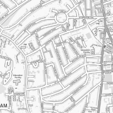 City Street Map - South London - Greyscale - Detail