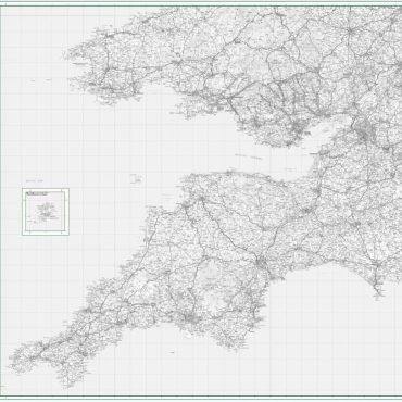 Road Map 7 - South West England and South Wales - Greyscale - Overview
