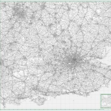 Road map 8 - South East England - Greyscale - Overview