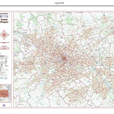 Postcode City Sector XL Map - Greater Glasgow - Dimensions