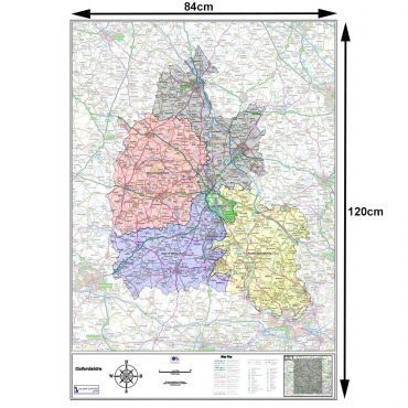 Oxfordshire County Boundary Map - Dimensions