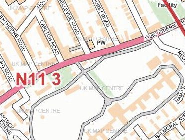 Postcode City Street Map - North London - Colour - Detail