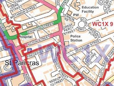 Postcode City Street Map - London Full Series - Colour - Detail