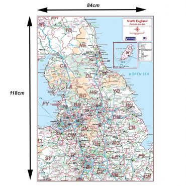 Postcode Area Map 3 - Northern England - Colour - Dimensions