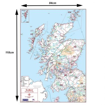 Postcode Area Map 2 - Scotland - Colour - Dimensions