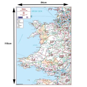 Postcode Area Map 5 - Wales - Colour - Dimensions