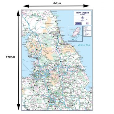 Travel Map 3 - Northern England - Colour - Dimensions