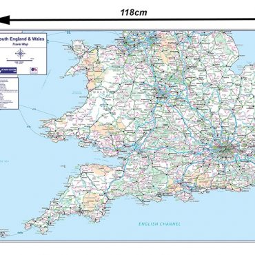 Travel Map 4 - Southern England & Wales - Colour - Dimensions