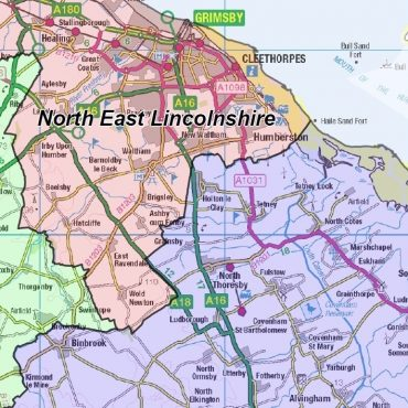 Lincolnshire County Boundary Map - Detail