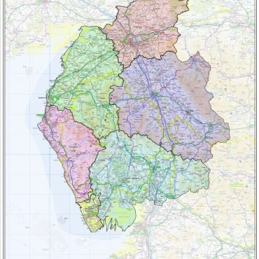 Cumbria County Boundary Map - Overview