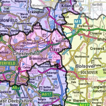 Derbyshire County Boundary Map - Detail