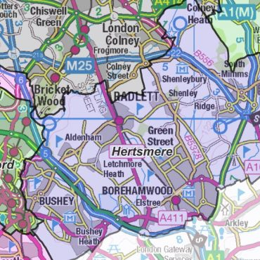 Hertfordshire County Boundary Map - Detail