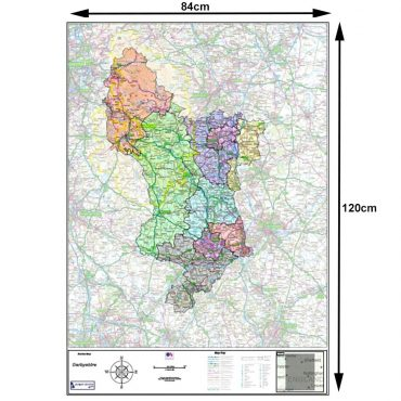 Derbyshire County Boundary Map - Dimensions
