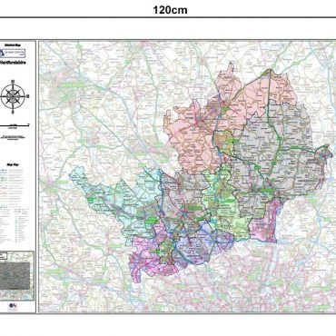 Hertfordshire County Boundary Map - Dimensions