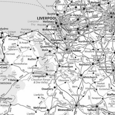 Travel Map 7 - Full UK - Greyscale - Detail