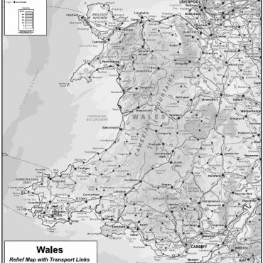 Compact Wales Relief Map with Transport Links - Greyscale - Overview